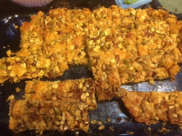 Pumpkinseed, Date and Tahini Bars
