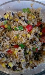 Quinoa salad with black beans, corn and tomatoes