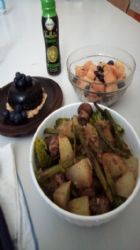 Roast potato, mushroom, broccoli and asparagus