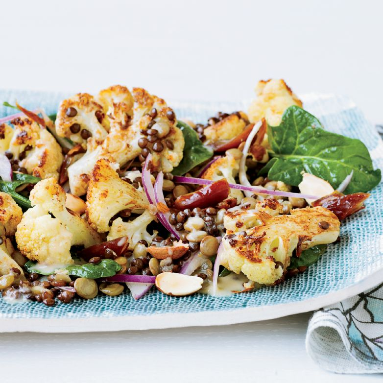 Roasted Cauliflower Salad with Lentils and Dates
