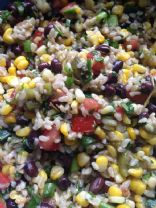 Roasted Corn Salad with Black Beans and Rice