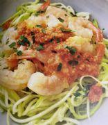 Romesco Garlic Shrimp Zucchini Noodles