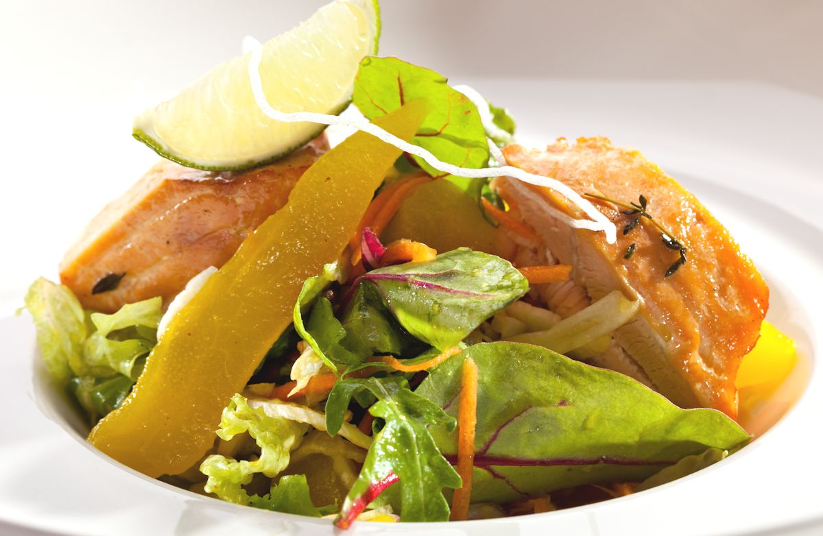 Salmon on Greens with Lime-Ginger Dressing RECIPE