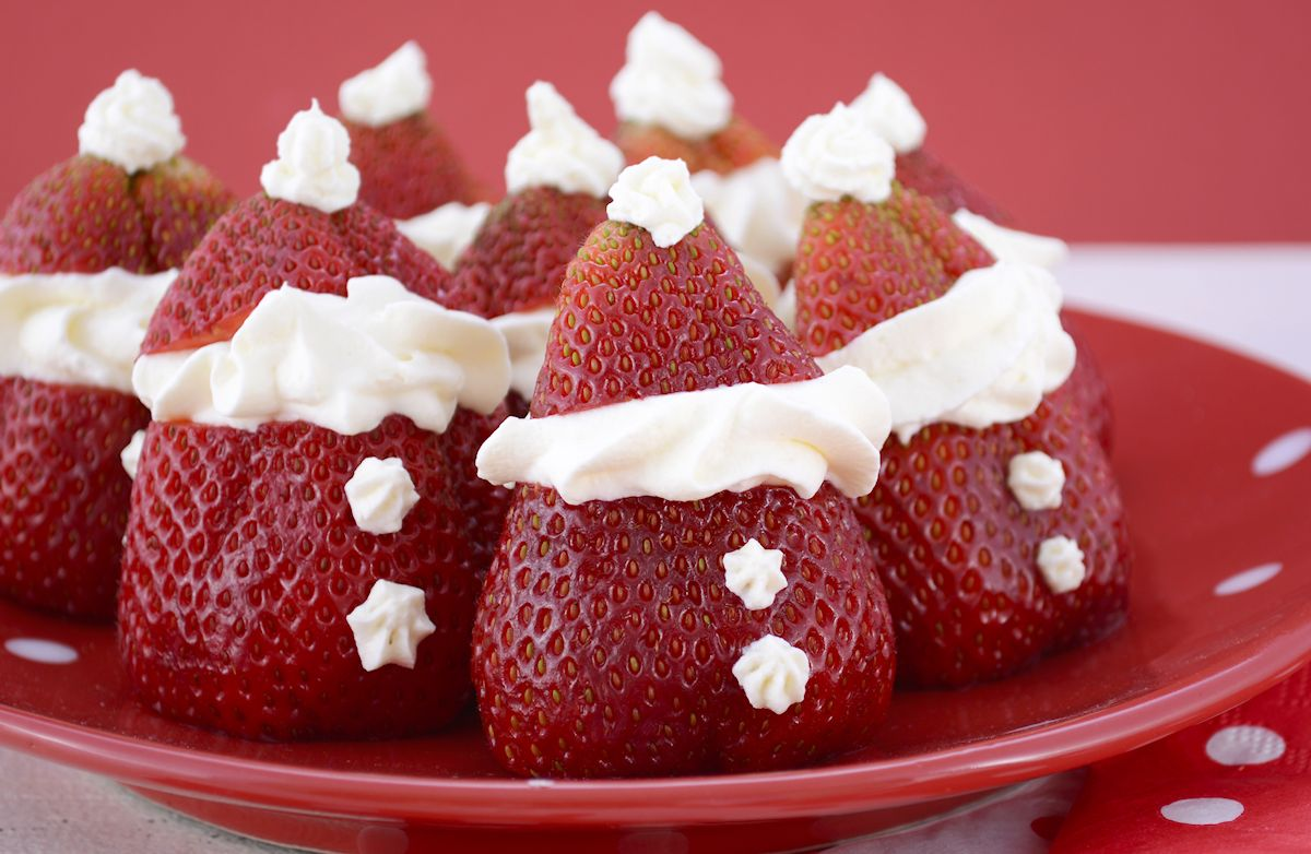 Santa Strawberries (Cream Cheese-Stuffed Strawberry Bites)