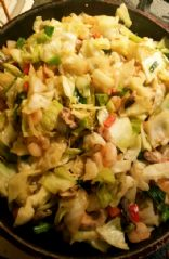 Sauteed cabbage and shrimp