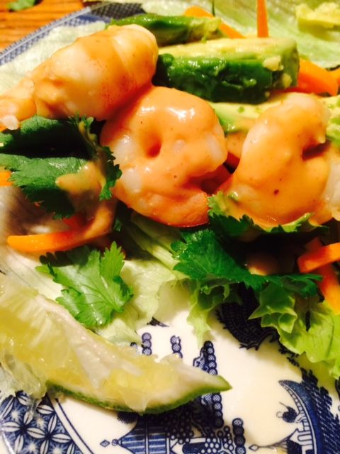 Shrimp Lettuce Wraps with Thai Peanut Sauce