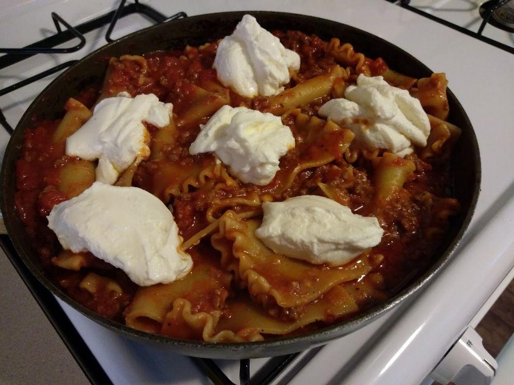 Skillet Lasagna (my original version of a cook's country recipe)