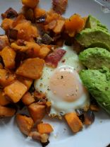 Smoky Bacon Sweet Potato Hash & Eggs