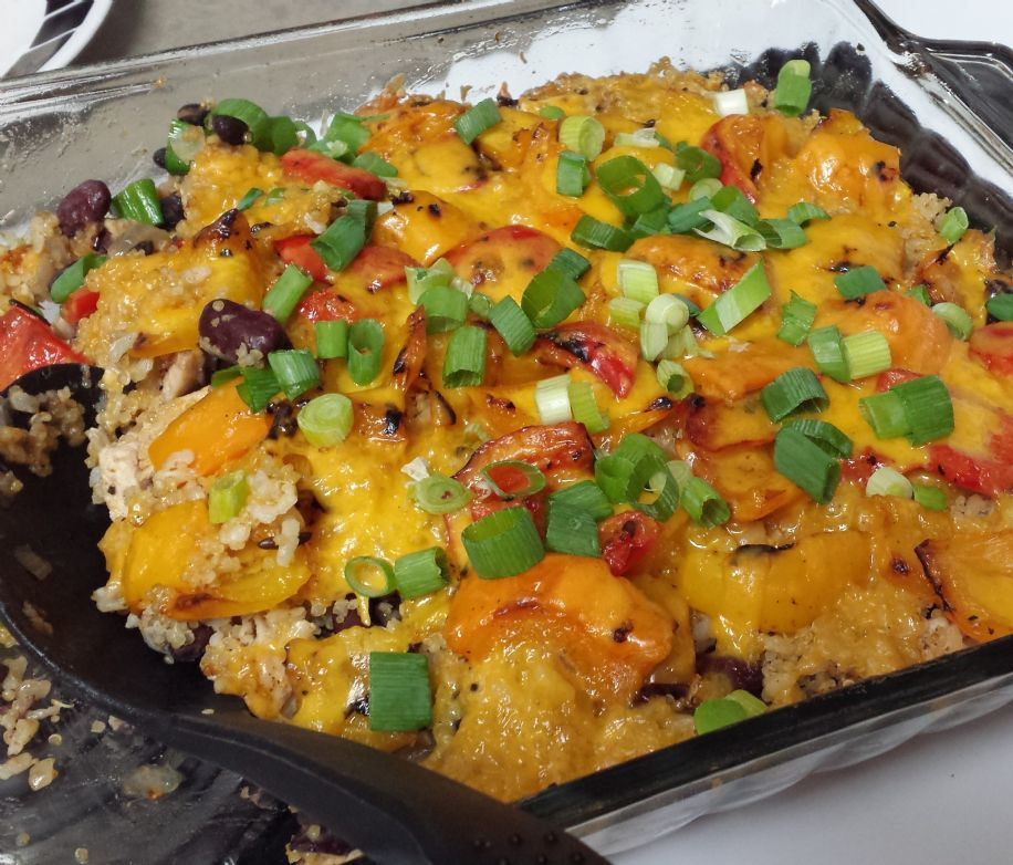 Southwestern quinoa and black bean casserole