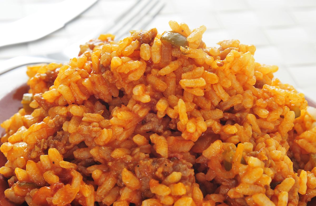 baked spanish rice with ground beef recipe