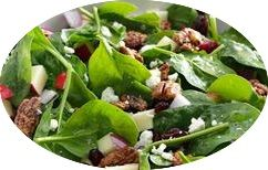 Spinach, Apple, Cranberry, Pecan Salad with Raspberry Vinaigrette Dressing