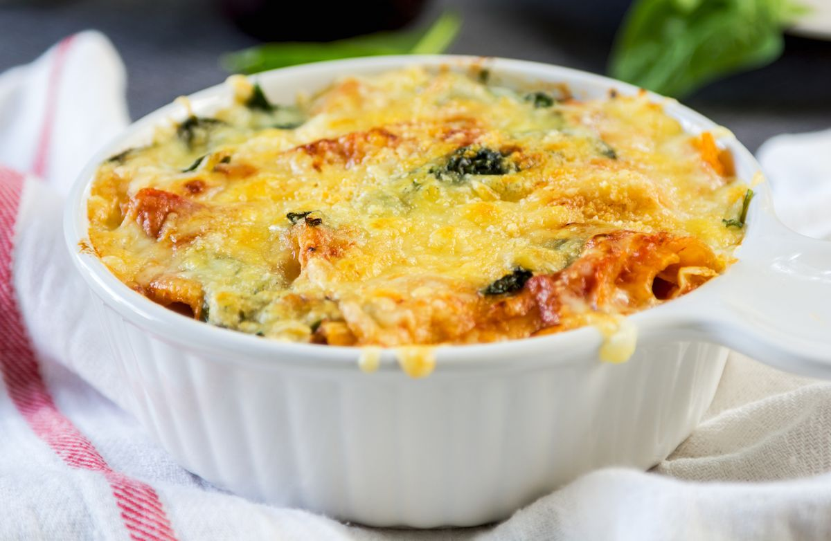 Spinach & Sausage Baked Pasta