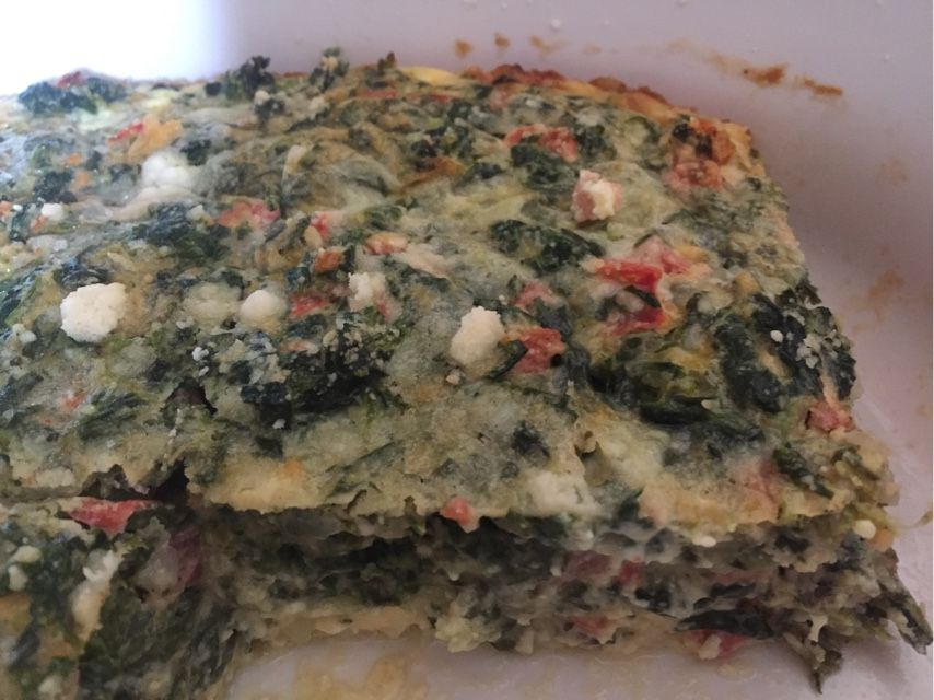 Spinach and tomato crustless quiche