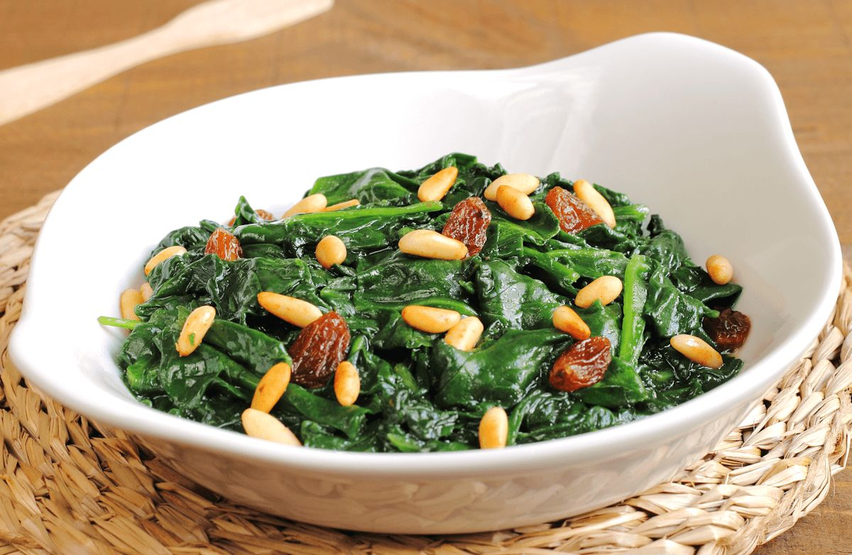 Spinach with Golden Raisins and Pine Nuts
