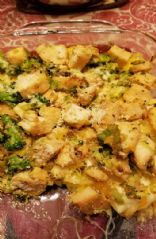 Squash with broccoli, chicken, cheese