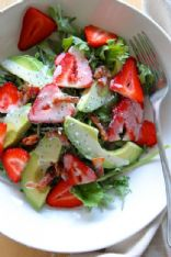 Strawberry Avocado Kale Salad w/ Bacon Poppyseed Dressing