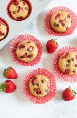 Strawberry Chocolate Oatmeal Protein Muffins