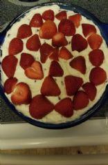 Strawberry chocolate chip cheesecake