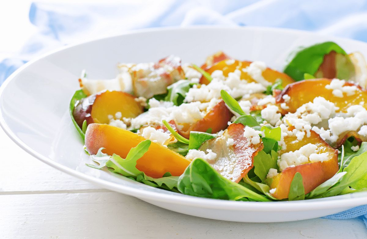 Summer Salad with Peaches and Goat Cheese