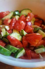 Tomato cucumber balsamic salad