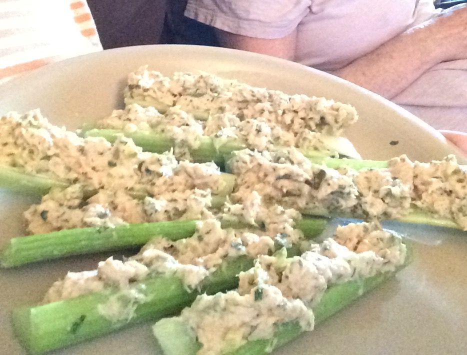 Tuna salad celery logs