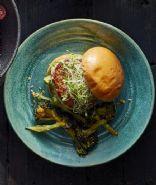 """Turkey Burgers With Broccoli-Cheddar """"Fries"""""""