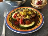 Vegan/Gluten Free Black Bean/Tomato over Baked Garlic Zucchini