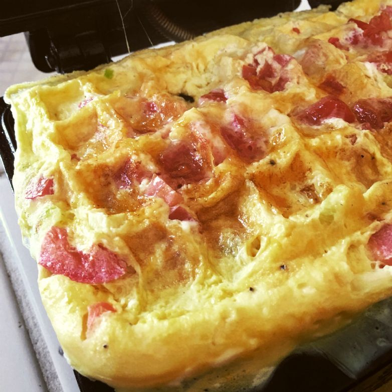 Waffle Iron Tomato and Cheese Omelette
