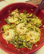 Warm Shaved Brussel and Shrimp Salad