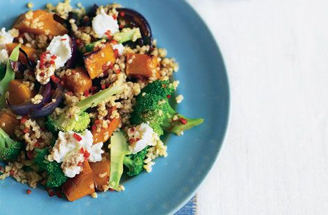Warm bulgar wheat, roast squash and ricotta salad recipe