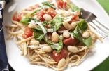 White Beans, Spinach and Tomatoes over Linguine