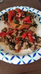 Whole30 Sausage, Peppers, Spinach stuffed Sweet potato