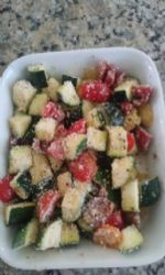 Zucchini Bake w/Tomato, Garlic and Parmesan