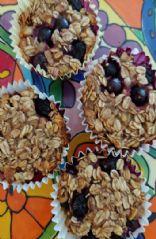 Flourless Banana Blueberry Oatmeal Muffins