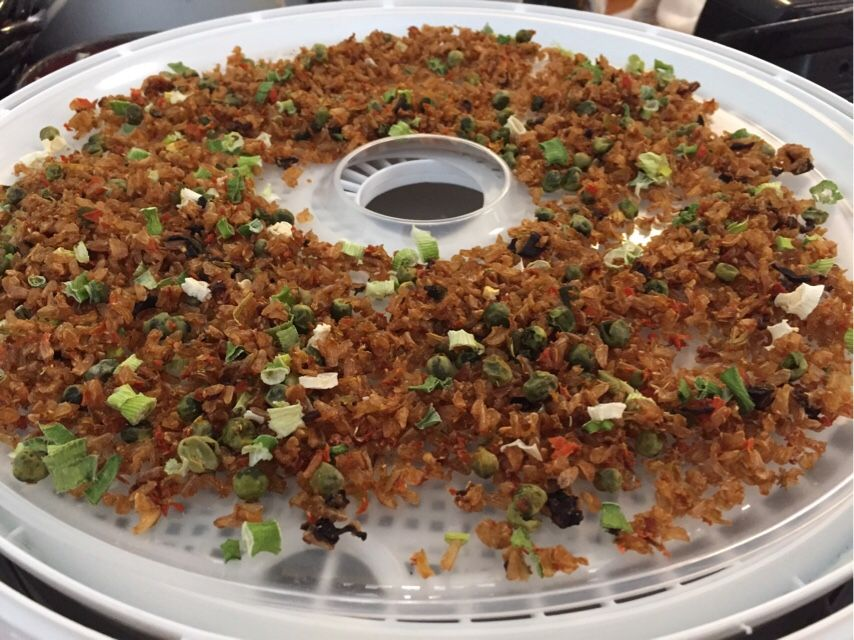 Backpacking Fried Rice for dehydrating in a dehydrator