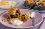 breakfast fruit bran muffin with yogurt