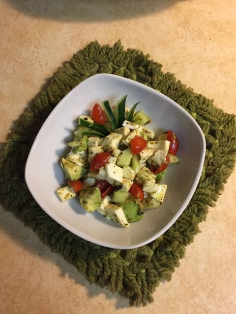 Avocado,Tomato, Cucumber  Salad with Fresh Mozzarella Cheese