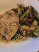 chicken with veggies and pearl couscous