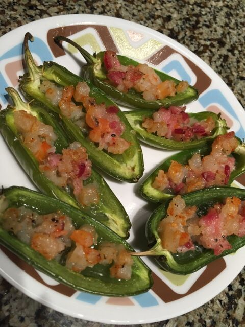 Bacon & shrimp stuffed jalapeño poppers