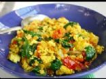scrambled eggs with mixed vegetable saute