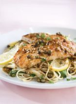 Chicken Piccata over pasta with spinach
