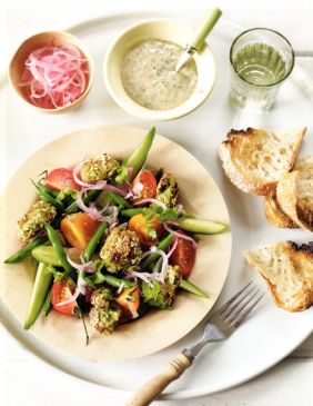 Feta & Pea Falafel Salad with Tahini Dressing