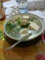 Chicken Balls, Tofu and Chinese Greens in Broth (Soup)