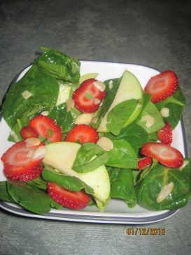 Apple Strawberry Spinach Salad w/Honey Dejon Dressing
