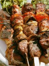 Marinated Garlic, Red Wine and Rosemary Lamb Kebabs with Minted Lemon Yoghurt
