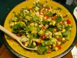 Grilled Corn salad with fresh herbs and veggies
