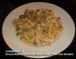 Ground Beef Noodles and Beef Gravy With Sweet Green Peas