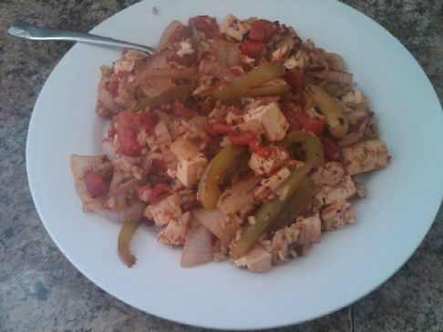 Italian style tofu and rice, for two