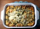 Asparagus and Caramelized Leek Bread Pudding