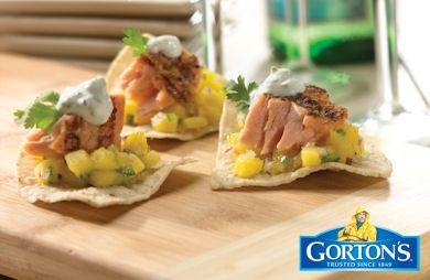 Grilled Salmon Nachos with Cilantro-Lime Sour Cream from Gorton's